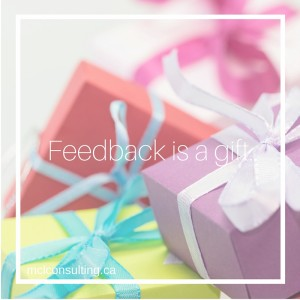 """Presents with title """"Feedback is a gift"""""""
