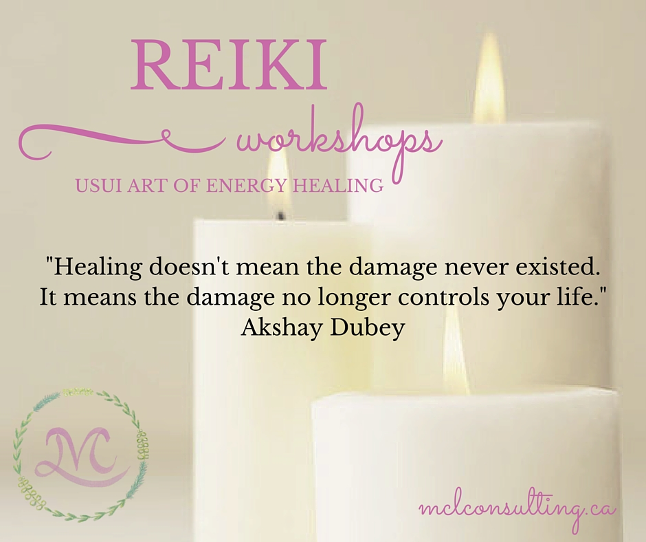 Reiki workshop signage, candles & quote about healing.