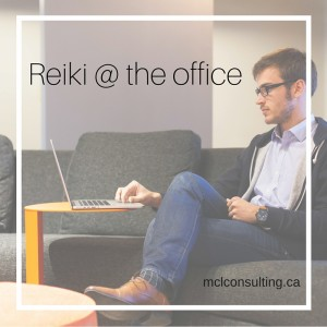 Man at the office doing Reiki