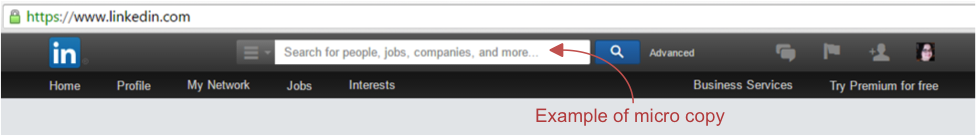 Example of micro copy from LinkedIn search field on their website.