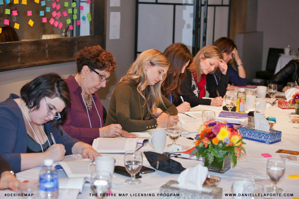 Group of women working intently