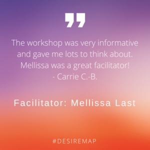 Client Testimonials: The workshop was very informative and gave me lots to think about. Mellissa was a great facilitator!