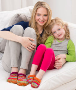 Image of completed slippers (adult & children).